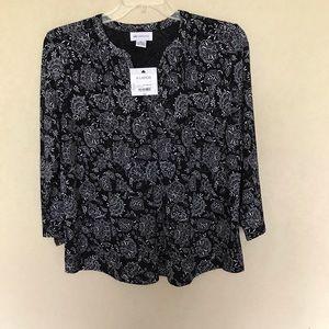 NWT Liz Claiborne 3/4 Sleeve Floral Tee Size XL